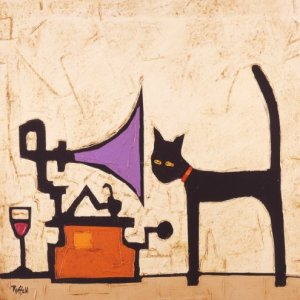 Cat and Gramophone, por Colin Ruffell