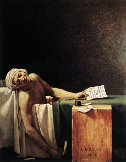 Marat assassiné, por Jacques-Louis David (1793)